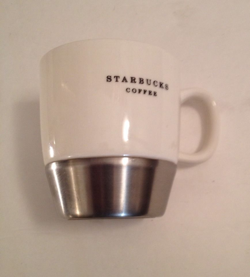 Starbucks White Silver Bottom Coffee Mug Dishwasher Safe Cup 2006 10 Fl Oz 295l