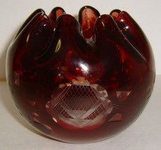 Vintage Blood Red Cut to Clear Bohemian Glass Ruffle Rim Vase - $20.00