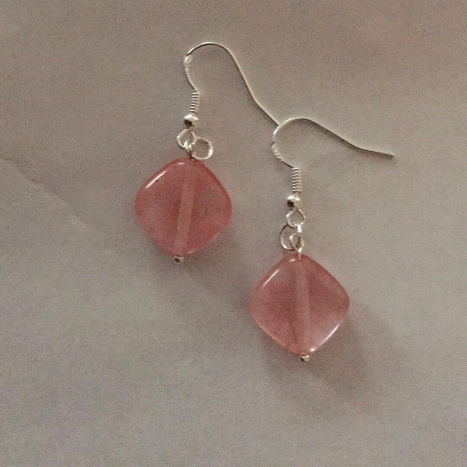 Pink Watermelon Tourmaline Earrings, Sterling Silver