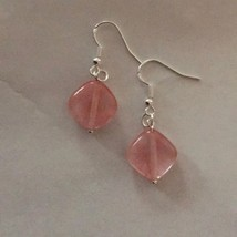 Pink Watermelon Tourmaline Earrings, Sterling Silver - $10.59