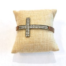 Leather Cross Bracelet, Brown Metallic Leather Bracelet, Narrow Leather Bracelet