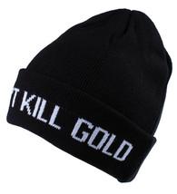 Gold Skateboarding Black Can't Kill Gold Fold Skate Beanie Knit Winter Skull Cap image 2