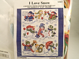 Design Works I LOVE SNOW Counted Cross-Stitch Picture Kit - Brand New In... - $18.00
