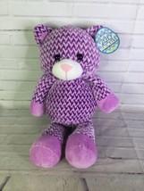 KellyToy Cat Kitten Chevron Plush Stuffed Animal Purple White Sugar Loaf Toy - $47.51