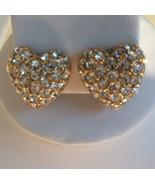 Swarovski Swan Crystal Gold Played Heart Earrings Pierced Euc - $33.81