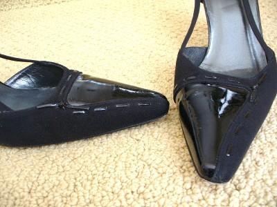STUART WEITZMAN Slingback Heels Black Patent Satin Fabric 9