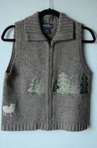 Woolrich Zip Front Mockneck Sweater Khaki, Pine Trees 100% Wool Small Sl... - $498,01 MXN