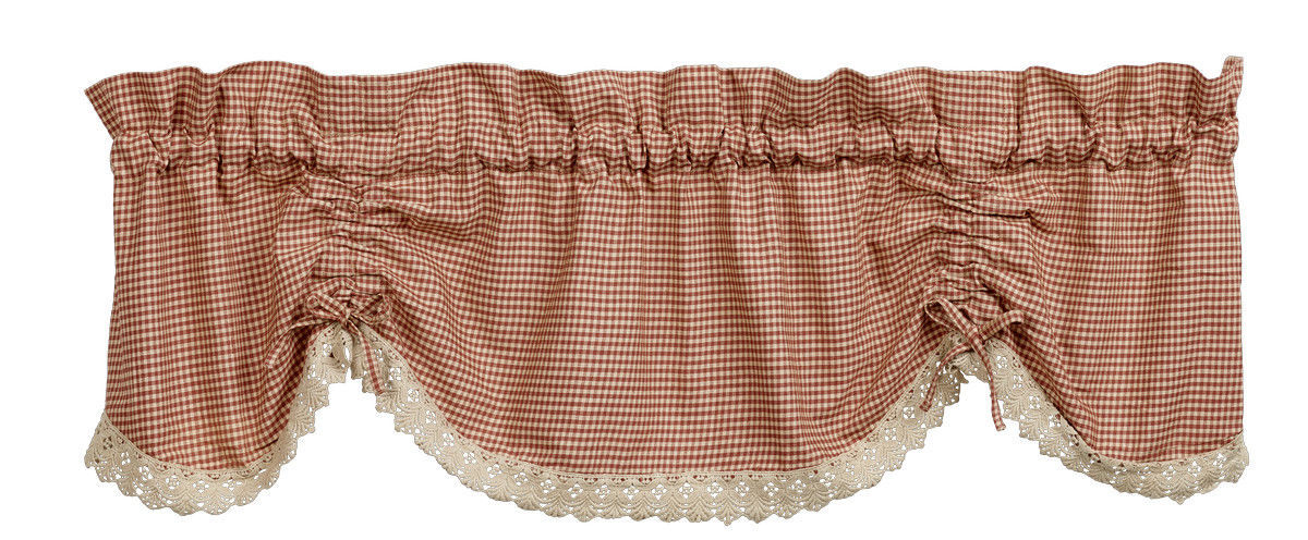 Primary image for Olivia's Heartland plaid country AVA Wine scalloped w/ lace VALANCE curtain