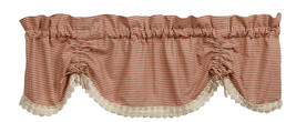 Olivia's Heartland plaid country AVA Wine scalloped w/ lace VALANCE curtain - $30.95