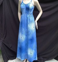 Vtg Blue Hawaiian Floral Maxi Dresss Kimos Polynesian Shop Hawaii Smocked S - $54.45