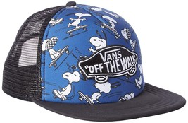 Vans Peanuts True Navy Classic Patch Trucker Plus Snapback Cap One Size Hat - $32.71