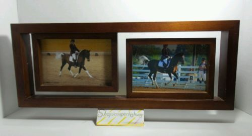 Double Photo Wooden Photo Frame Holds 2 - 4 by 6 inch photos - Art Decor