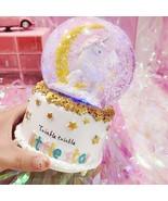Music Box Glass Home Coffee Shop Decoration 12.5cm Unicorn Crystal Snow ... - $57.42+