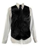 Men's Suit Satin Tuxedo Black Dress Vest Necktie Bowtie Hanky 4 Pc Set V... - $28.49+