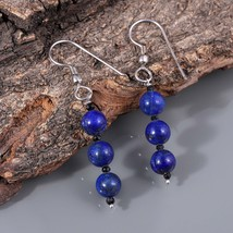 Lapis Lazuli with Black Spinel 925 Sterling Silver Drop Dangle Earrings ... - $18.99