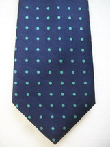Brooks Brothers men's blue & green polka dot wide silk neck tie USA - $20.00