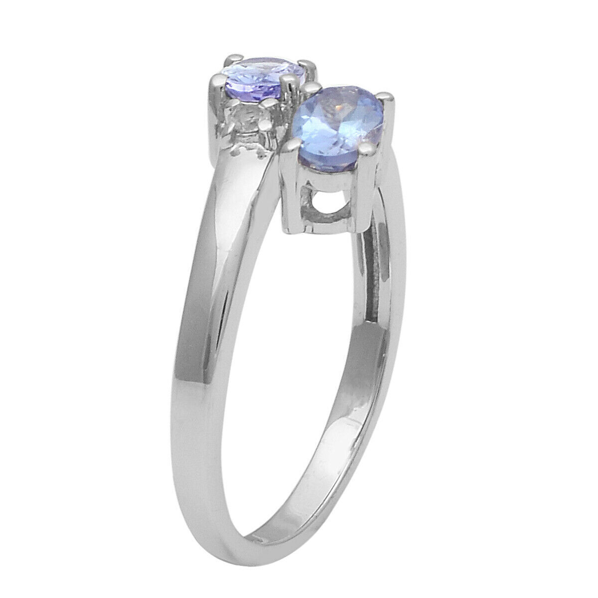 Primary image for Solid 925 Sterling Silver 0.96 Ct Tanzanite Dual Gemstone Stackable Wedding Ring