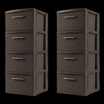 4 Drawer Storage Cabinet Set of 2 Weave Plastic Home Organizer Brown Esp... - $67.41 CAD