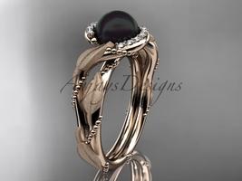 Vine and leaf black pearl engagement ring 14k rose diamond wedding ring ABP65 - $1,275.00