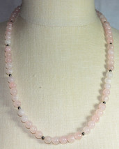 VTG Gold Tone Pink Polished Rose Quartz Glass Graduated Bead Beaded Neck... - $39.60