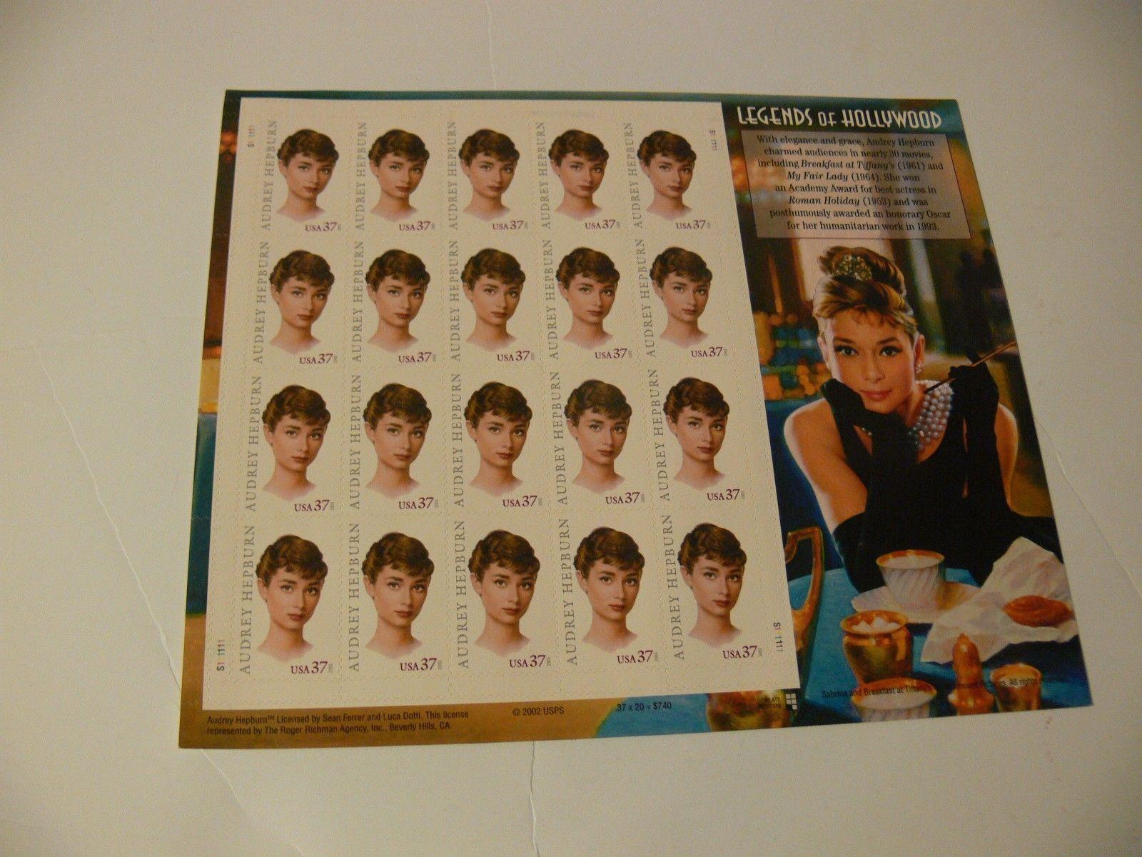 #3786 AUDREY HEPBURN Legends of Hollywood Full mint sheet of 20 stamps