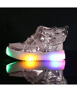 Light up Winged girls and boys Silver sneakers Anti-Slip unisex  casual ... - $39.99