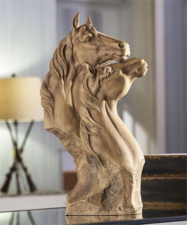 "18"" High Two Majestic Horse Heads - Table Mantle Decor Polystone Rustic Tan"