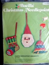Bucilla Christmas Needlepoint Santa Stocking Bell Painted Ornaments #60342 New - $24.72