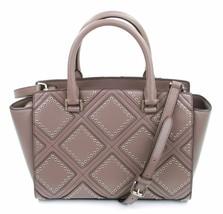 Michael Kors Selma Diamond Grommet Bag Satchel Cinder Grey Brown Handbag... - $371.37