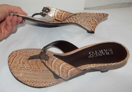 Franco Sarto Leather Flip Flop Wedge Heels Womens Sz 7.5 - $6.92