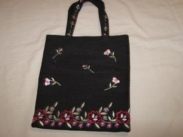 Purse, Liz Claiborne, Black With Floral Design, - $19.71