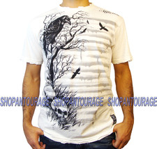 Affliction Branch Out A11894 Men`s New White Graphic Fashion Skull T-shirt - $35.96
