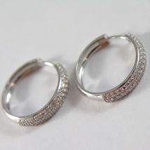Boucles D'Oreilles or Blanc 750 18K Cercle, Diamètre 2 CM, Triple Row Zirconia, image 3