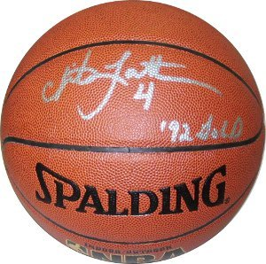 Christian Laettner signed Indoor/Outdoor Basketball 92 GOLD- JSA Hologram