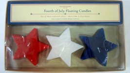 WILLIAMS SONOMA Fourth of July Floating Star Candles Set of 3 Red White ... - $17.99
