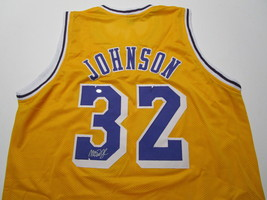 MAGIC JOHNSON / NBA HALL OF FAME / AUTOGRAPHED LAKERS YELLOW CUSTOM JERSEY / COA image 1