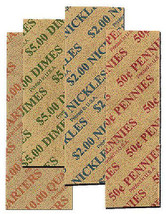 Mixed 1c - 25c Flat Coin Wrappers - 160 Pack  - $4.89