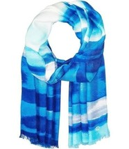 Calvin Klein Womens Blue White Watercolor Stripe Wrap Pashmina Scarf Regatta - $15.00