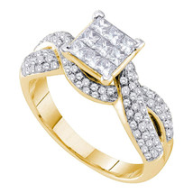 14k Yellow Gold Princess Diamond Cluster Bridal Wedding Engagement Ring ... - £1,105.56 GBP