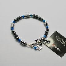 Silver Bracelet 925 with Turquoise and Hematite BLE-2 Made in Italy by Maschia image 3