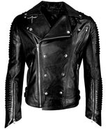 Rock Punk Studded Brando Quilted Multi Zipper Motorcycle Black Leather J... - $94.05+