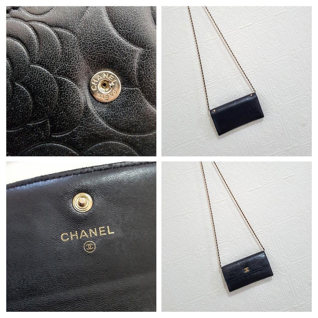 CHANEL Camellia Black/Gold Long Flap Clutch WOC Crossbody Bag