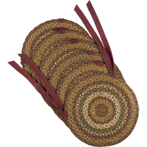 Tea Cabin Jute Chair Pad Set - 6 Pieces - Moss Green, Crimson and Creme - Vhc