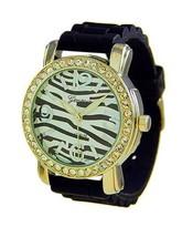 Ladies Girls Womens Black Gold Trim Zebra CZ Bezel Silicone Rubber Geneva Watch - $7.69