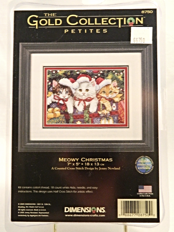 Dimensions Gold Collection MEOWY CHRISTMAS Counted Cross-Stitch Kit - NIP!
