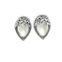 Vintage Silver Tone Faux Pearl Rhinestones Pear Shape Clip On Earrings S... - $24.74