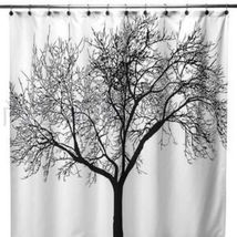 Black Tree Peva Polyester 180x180cm Bathroom Shower Use Shower Curtain With Hook - $14.99