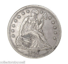 RARE Key Date 1841 Seated Liberty Silver $1 One Dollar NGC AU 53 Certifi... - $1,474.95