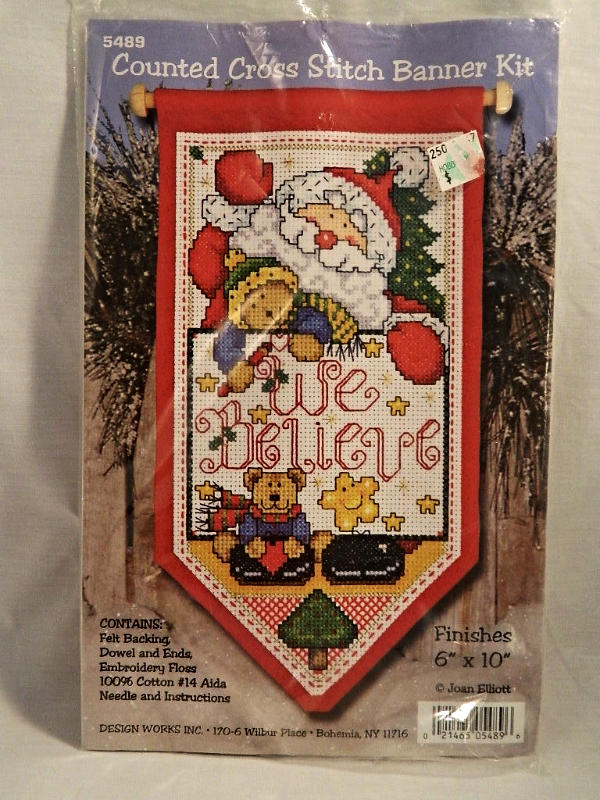 Design Works WE BELIEVE Counted Cross-Stitch Banner with Dowel - New In Package! - $18.00