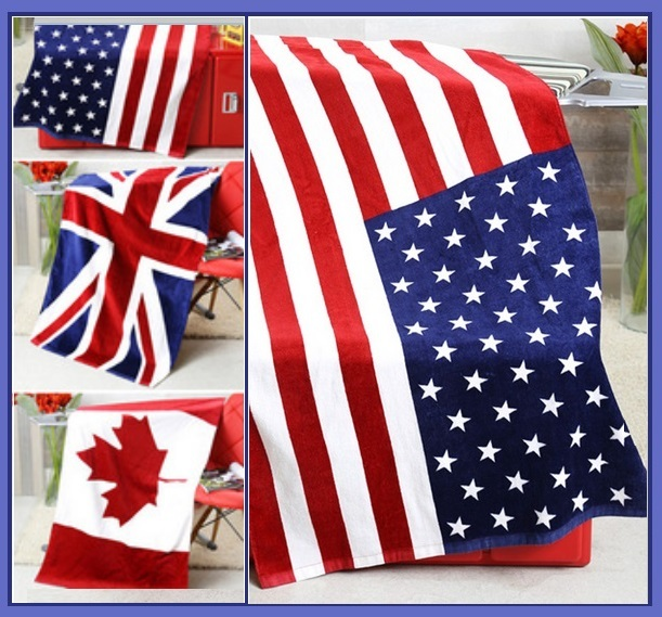 USA UK & Canada Flag of our Nation Soft and Absorbent Large Cotton Beach Towel